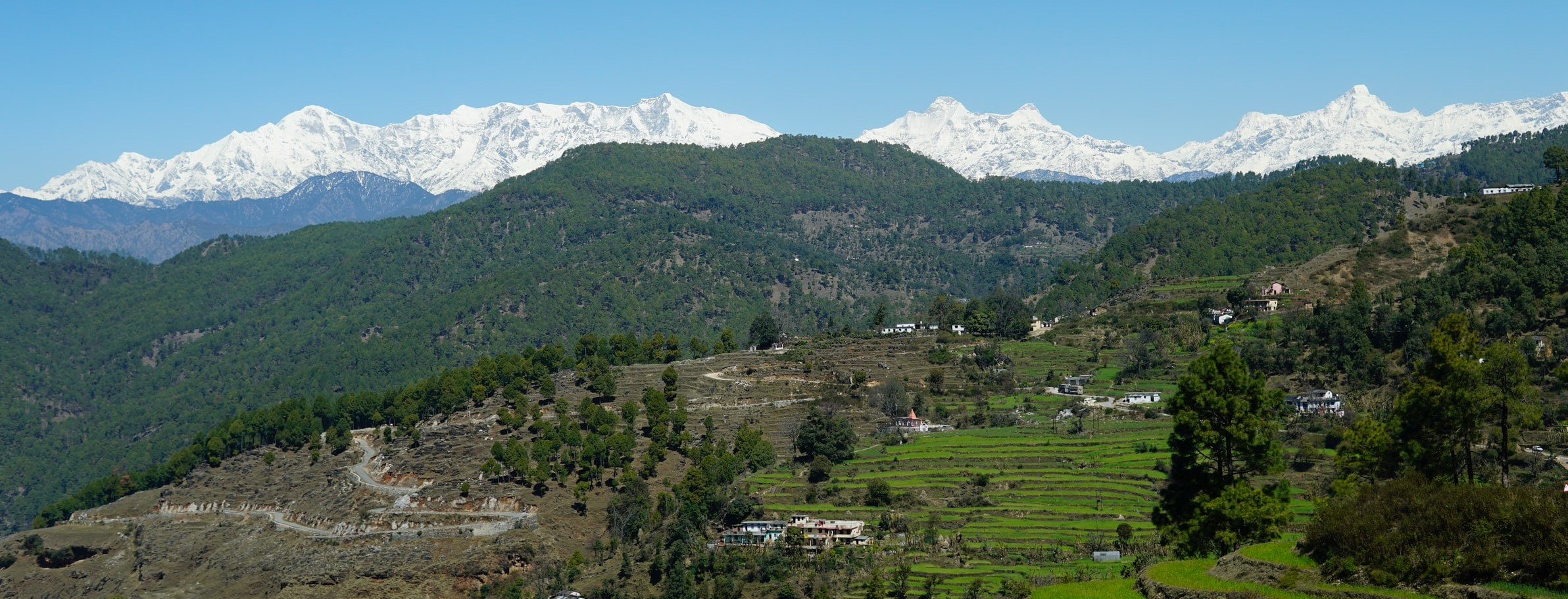 View of Snow Clad Mountains And Green Valley